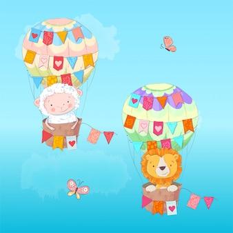 Ilustracja śliczny lew i baranek w balonie z flaga w kreskówka stylu. rysunek odręczny.