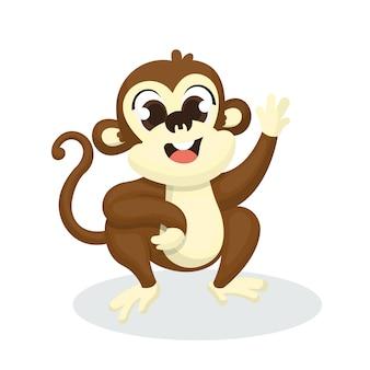 Ilustracja śliczny małpi charakter z kreskówka stylem