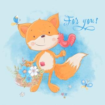 Ilustracja śliczny mały lis i kwiaty. styl kreskówki. wektor