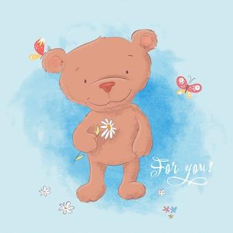 Ilustracja śliczny niedźwiedź z rumiankiem.