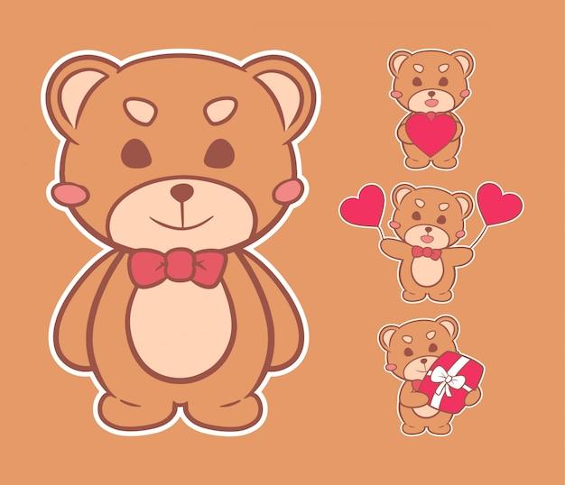 Ilustracja słodka miś valentine ręcznie rysowane