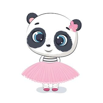 Ilustracja słodkie panda. ilustracja na chrzciny, kartkę z życzeniami, zaproszenie na imprezę, nadruk koszulki z modnymi ubraniami.