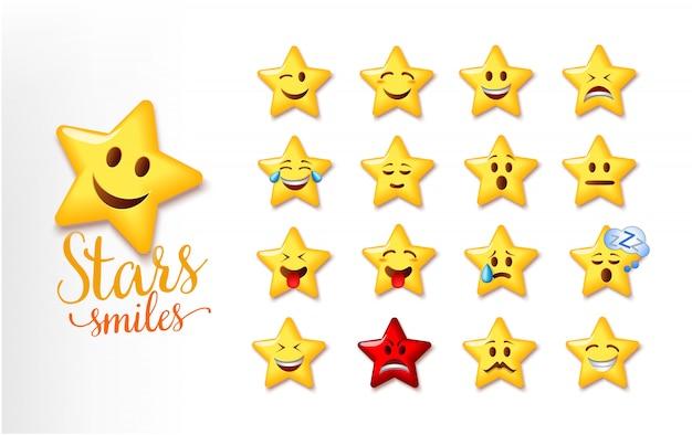 Ilustracja słodkie uśmiechy gwiazd. zestaw emoji gwiazdy wyraz twarzy