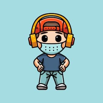 Ilustracja słodkiego chłopca z maską i słuchawkami