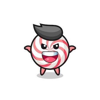 Ilustracja słodkiego cukierka robi gest przestraszenia, ładny styl na koszulkę, naklejkę, element logo