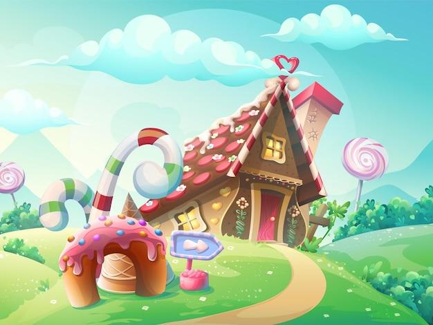 Ilustracja słodkiego domu ciastek i cukierków na tle łąk i karmelków rosnących