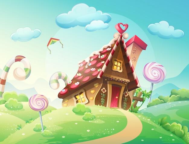 Ilustracja słodkiego domu ciastek i cukierków na tle łąk i karmelków rosnących.