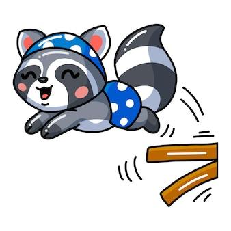 Ilustracja słodkiego dziecka skaczącego szopa pracza