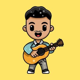 Ilustracja słodkiego gitarzysty