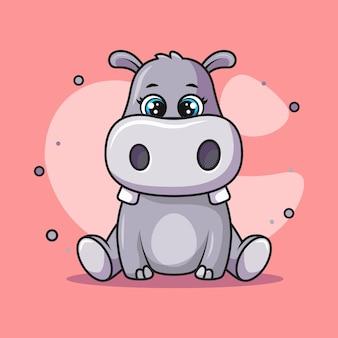 Ilustracja słodkiego hipopotama siedzącego i uśmiechającego się szczęśliwie