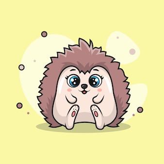 Ilustracja słodkiego jeża uśmiechającego się szczęśliwie