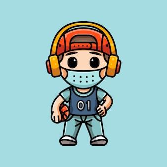 Ilustracja słodkiego koszykarza z maską na logo naklejki z postacią ikony i ilustracją