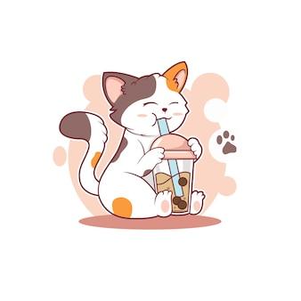 Ilustracja słodkiego kota pijącego projekt wektora lodu boba