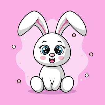 Ilustracja słodkiego królika siedzącego i uśmiechającego się