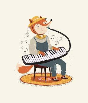 Ilustracja słodkiego lisa grającego na instrumencie melodycznym