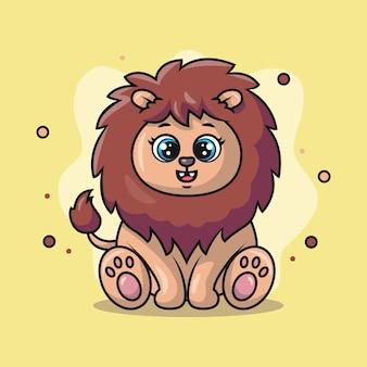 Ilustracja słodkiego lwa, który uśmiecha się szczęśliwie