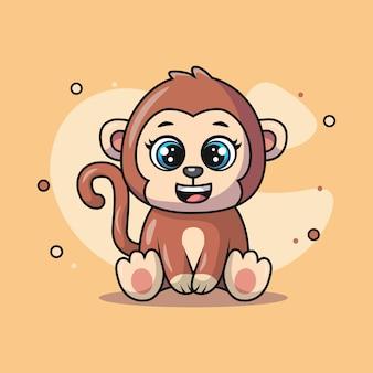 Ilustracja słodkiego małpiego zwierzęcia uśmiechającego się szczęśliwie