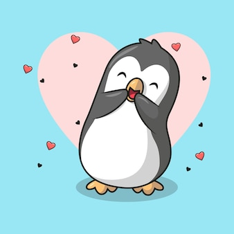 Ilustracja słodkiego pingwina śmiejącego się i pełnego miłości