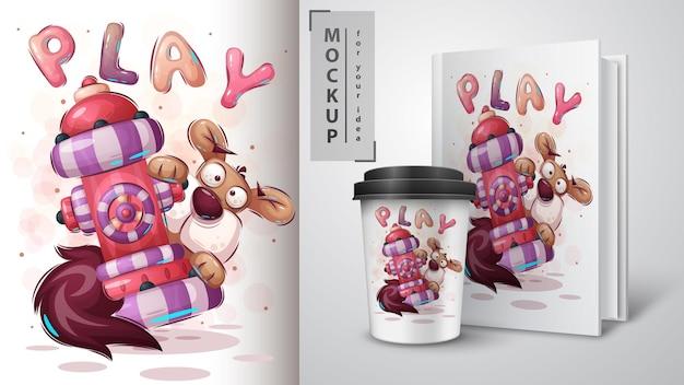 Ilustracja słodkiego psa i merchandising