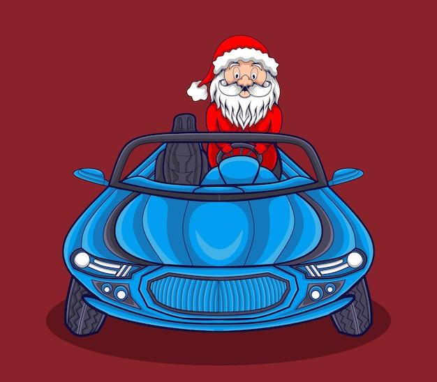 Ilustracja słodkiego świętego mikołaja prowadzącego samochód