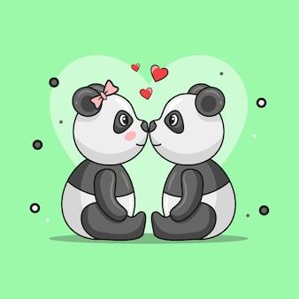 Ilustracja słodkiej pandy para zwierząt pełnych miłości