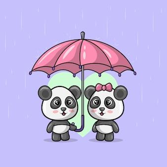 Ilustracja słodkiej pary pandy, która używa razem parasola