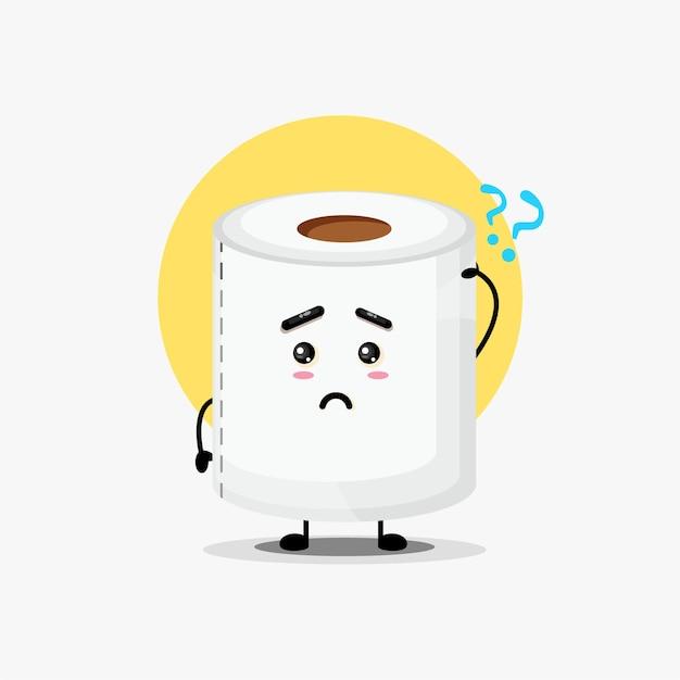 Ilustracja słodkiej postaci papieru toaletowego jest zdezorientowana