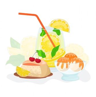 Ilustracja słodyczy i napojów. świeżych owoców lemoniady cytrusowej lub naturalnego soku, ciasto z dżemem cytrynowym i wiśni urządzone, lody syrop na białym tle.