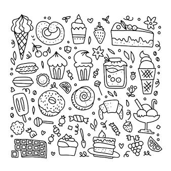 Ilustracja słodyczy w konturach.