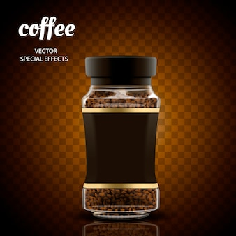 Ilustracja słoik kawy rozpuszczalnej, przezroczyste tło, ilustracja