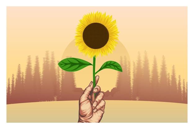 Ilustracja słonecznika z widokiem na zachód słońca