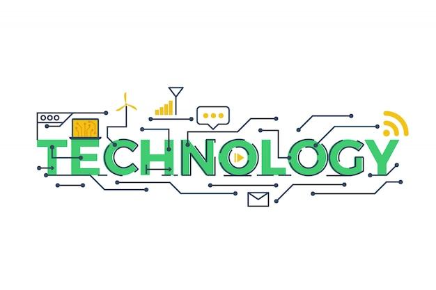Ilustracja słowa technologia w stem - nauka, technologia, inżynieria, co matematyka