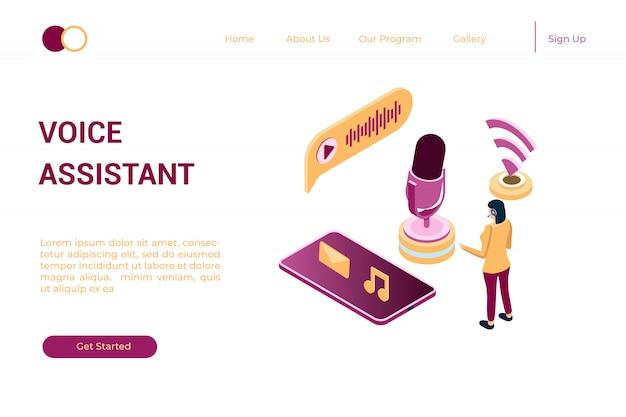 Ilustracja słuchania muzyki online przez podcasty w izometrycznym stylu 3d