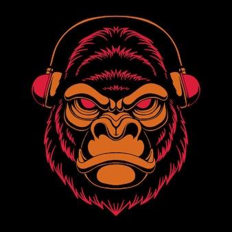 Ilustracja słuchawek goryla