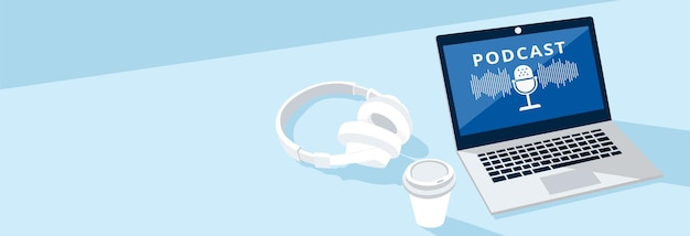 Ilustracja słuchawki, kawa i laptop