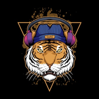 Ilustracja słuchawki tygrysa