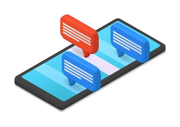 Ilustracja smartfona z bąbelkowym czatem w stylu 3d
