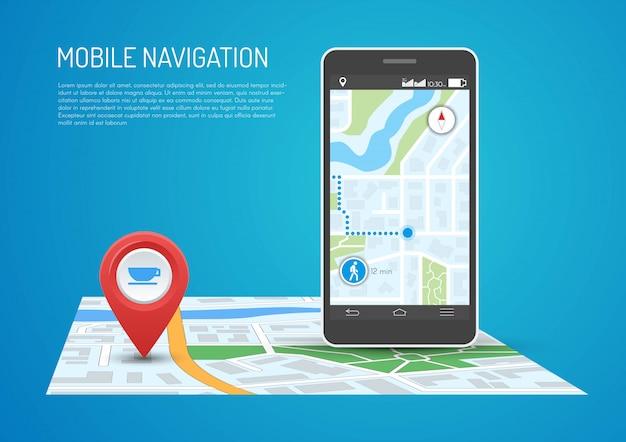 Ilustracja smartfona z nawigacją mobilną w płaskiej konstrukcji