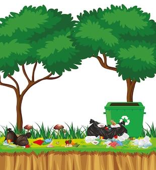 Ilustracja śmieci W Parku Darmowych Wektorów