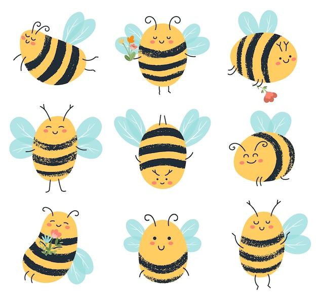 Ilustracja śmieszne żółte pszczoły znaków