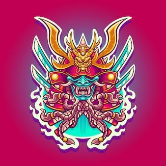Ilustracja smoka wojownika ronina samuraja