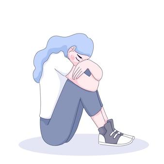 Ilustracja smutna dziewczyna