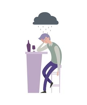 Ilustracja smutny przygnębiony mężczyzna. samotny facet z drinkiem w barze i szara deszczowa chmura