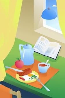 Ilustracja śniadanie we wnętrzu. kawa, jajka sadzone z kiełbasą i zielonym groszkiem.