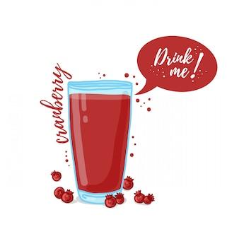 Ilustracja soku żurawinowego pij mnie. świeżo wyciśnięty sok żurawinowy dla zdrowego życia.