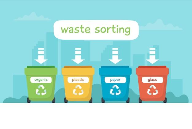 Ilustracja sortowania odpadów z różnymi kolorowymi pojemnikami na śmieci z napisem