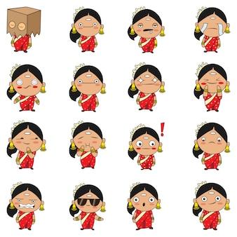 Ilustracja south indian woman set