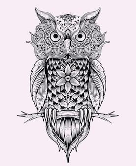Ilustracja sowa ptak z rocznika ornamentem mandali.