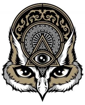 Ilustracja sowa z trójkąta i ozdoby