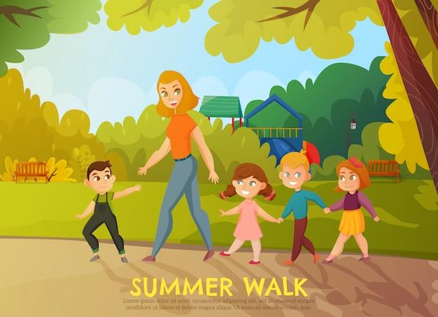 Ilustracja spacer letni przedszkola